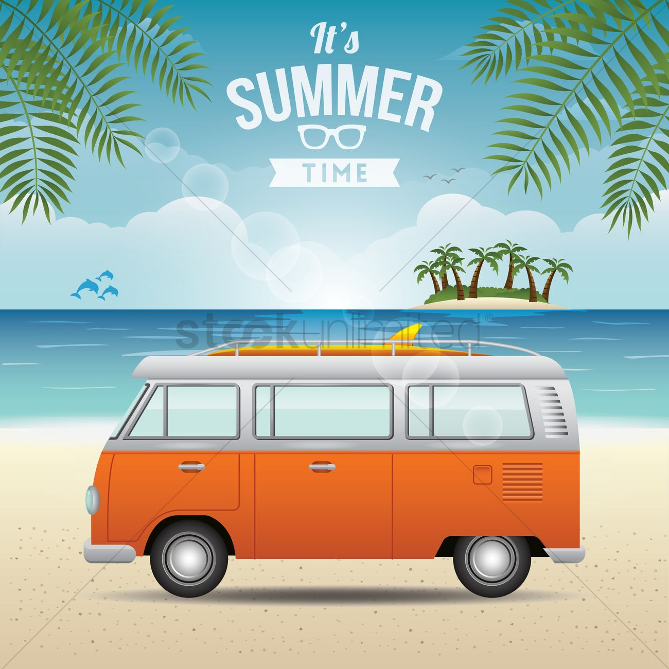 Its Summer Time Wallpaper Vector Image 1825798 Stockunlimited