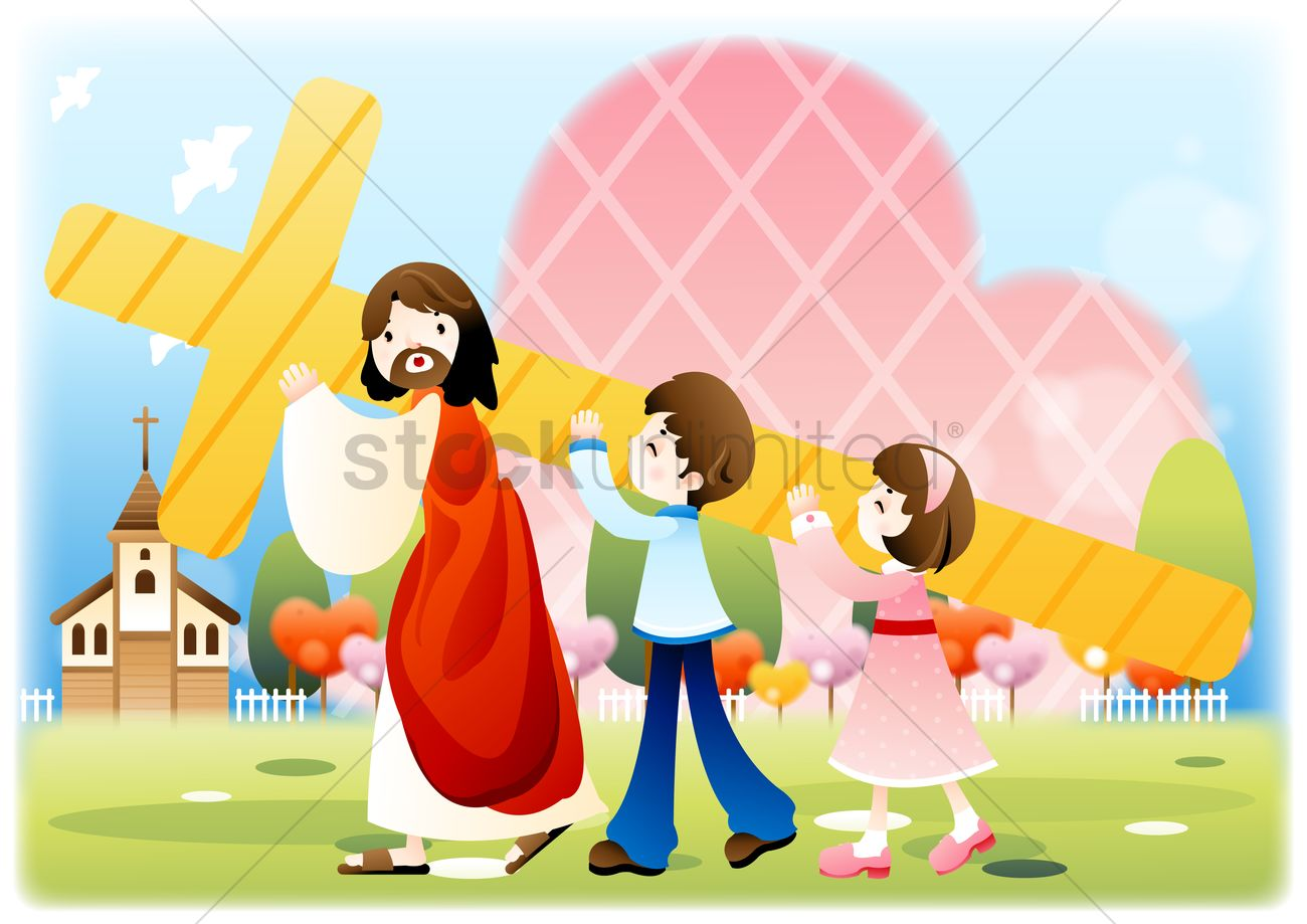 Jesus carrying the cross with children Vector Image - 1493346 ...