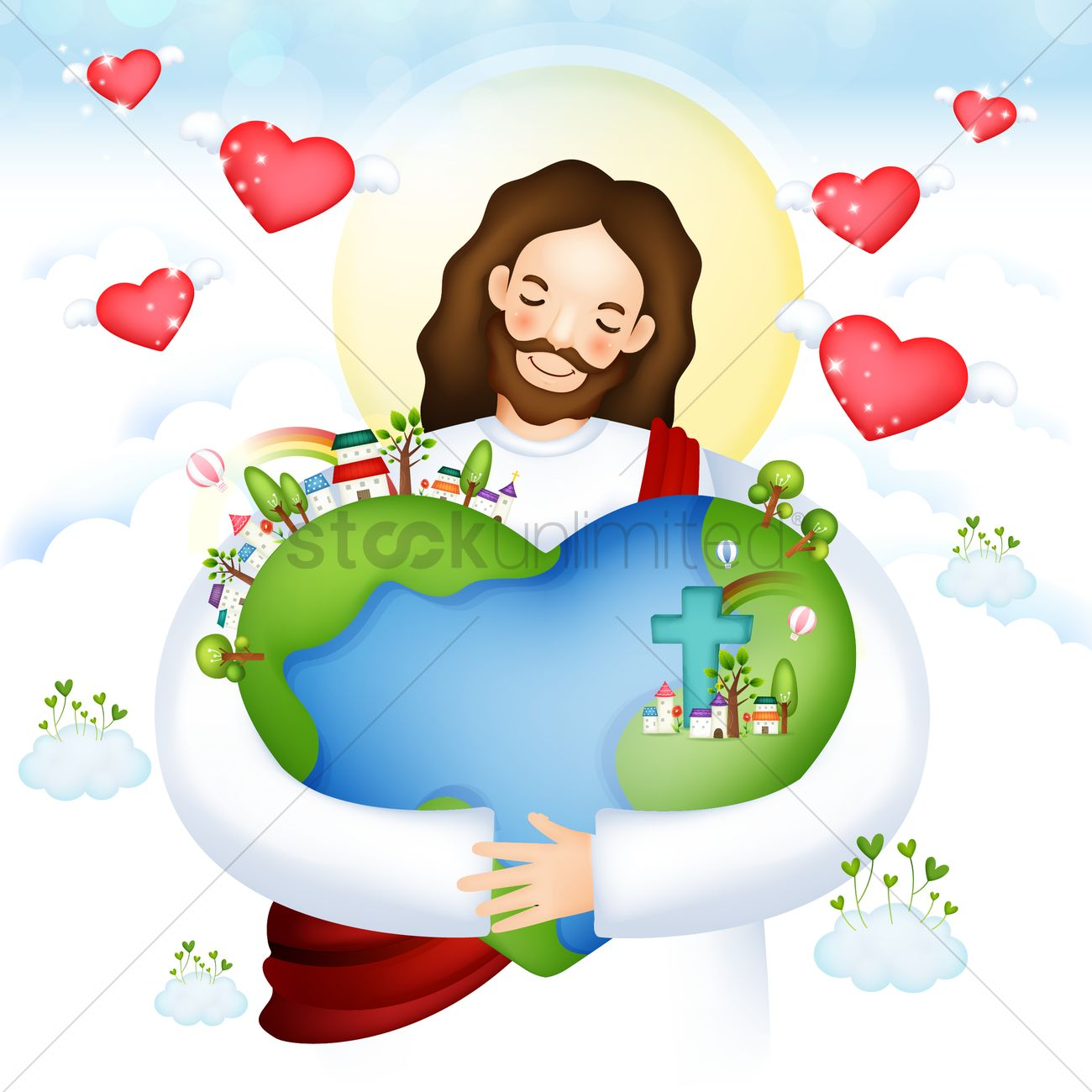 Jesus hugging planet earth Vector Image - 1492702 | StockUnlimited