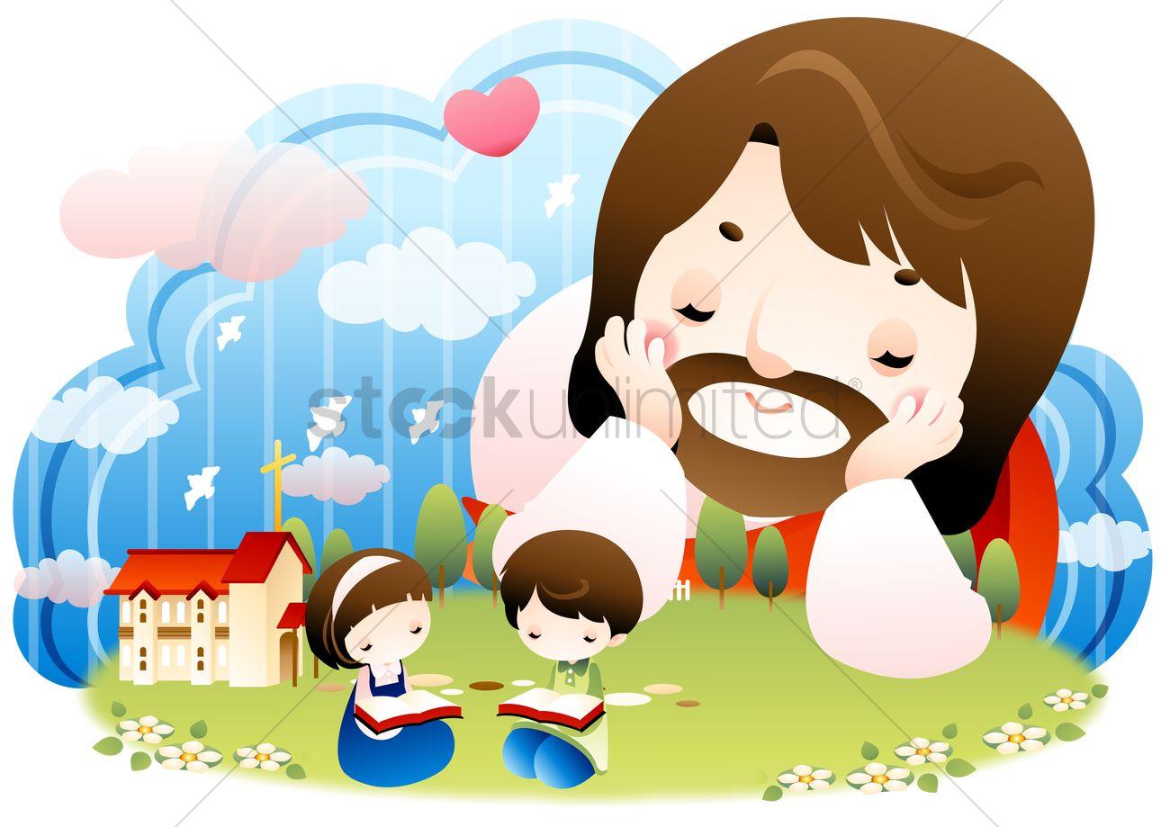 jesus watching the children read vector image 1492910