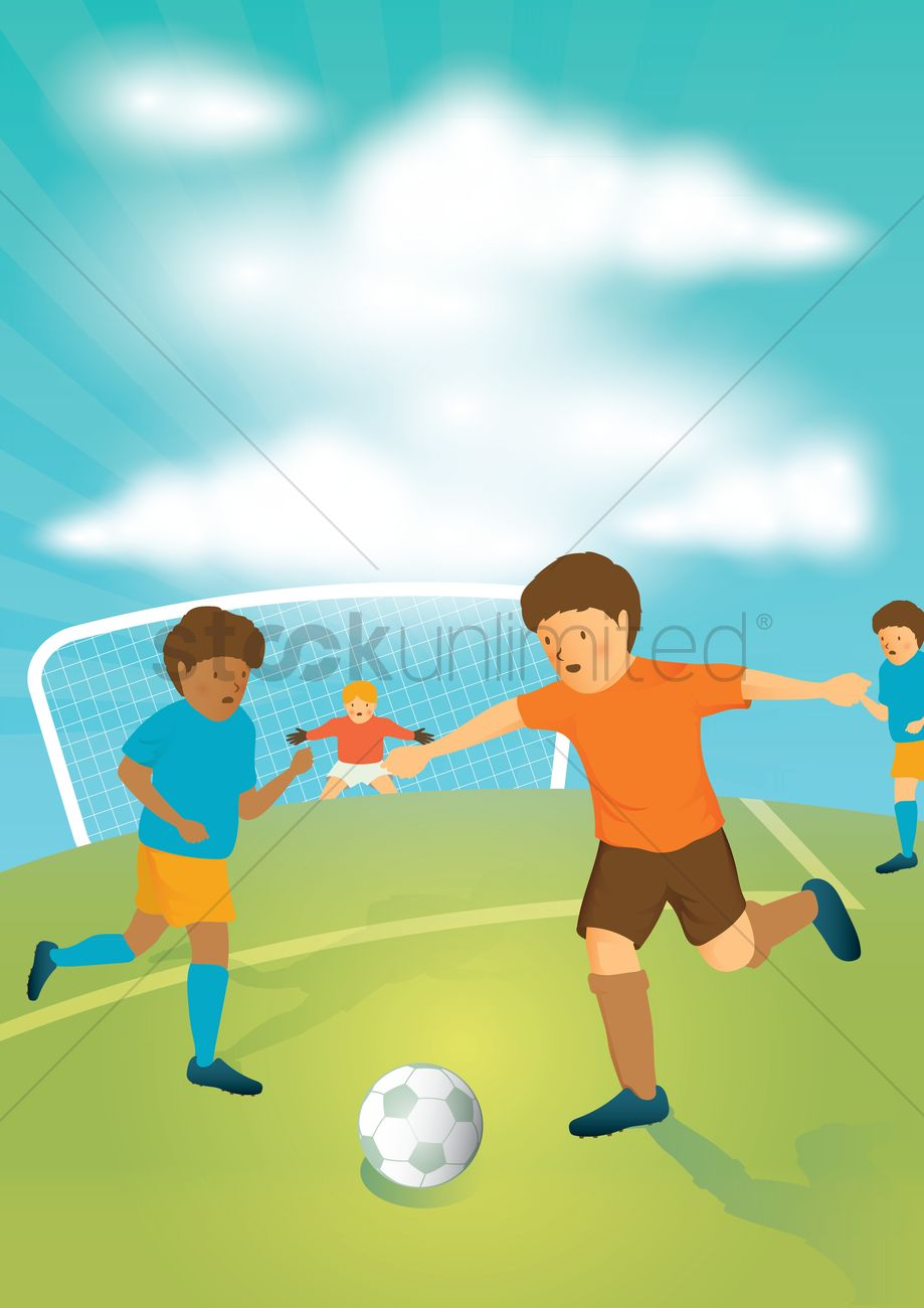 Kids Playing Football Vector Image 1563638 Stockunlimited