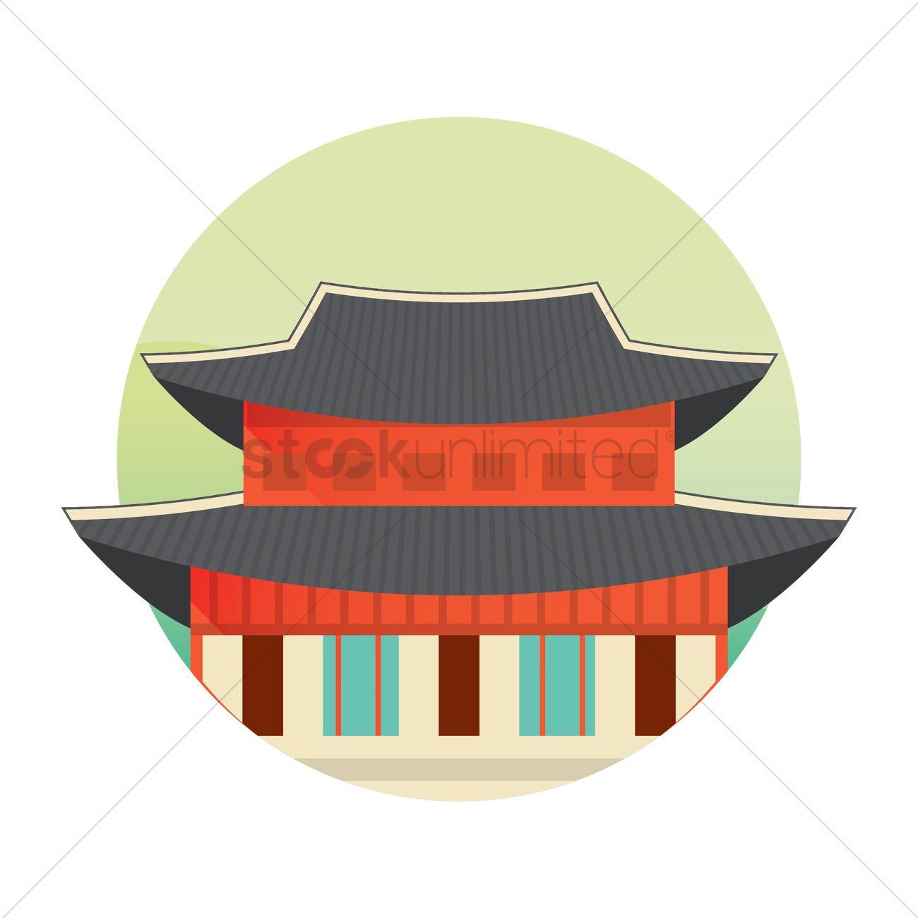 Korean traditional building Vector Image - 2014134