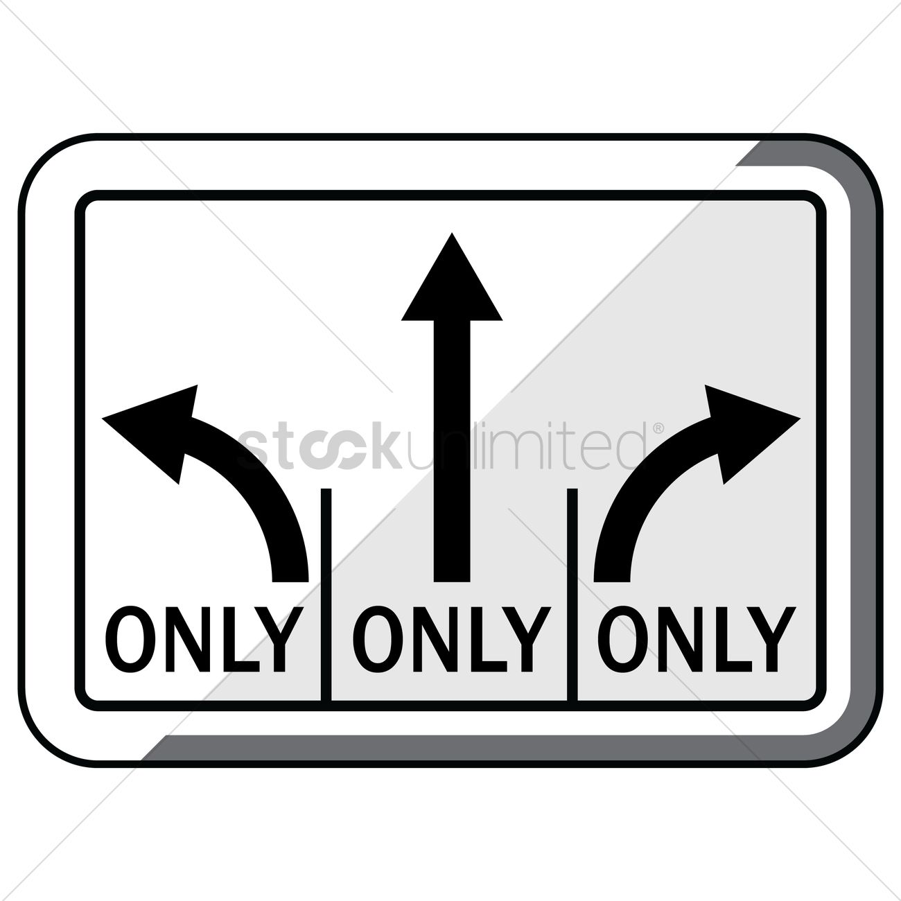 Left Straight Right Turn Lanes Road Sign Vector Graphic