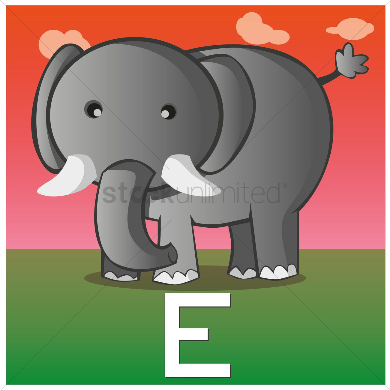 Letter E For Elephant Vector Graphic