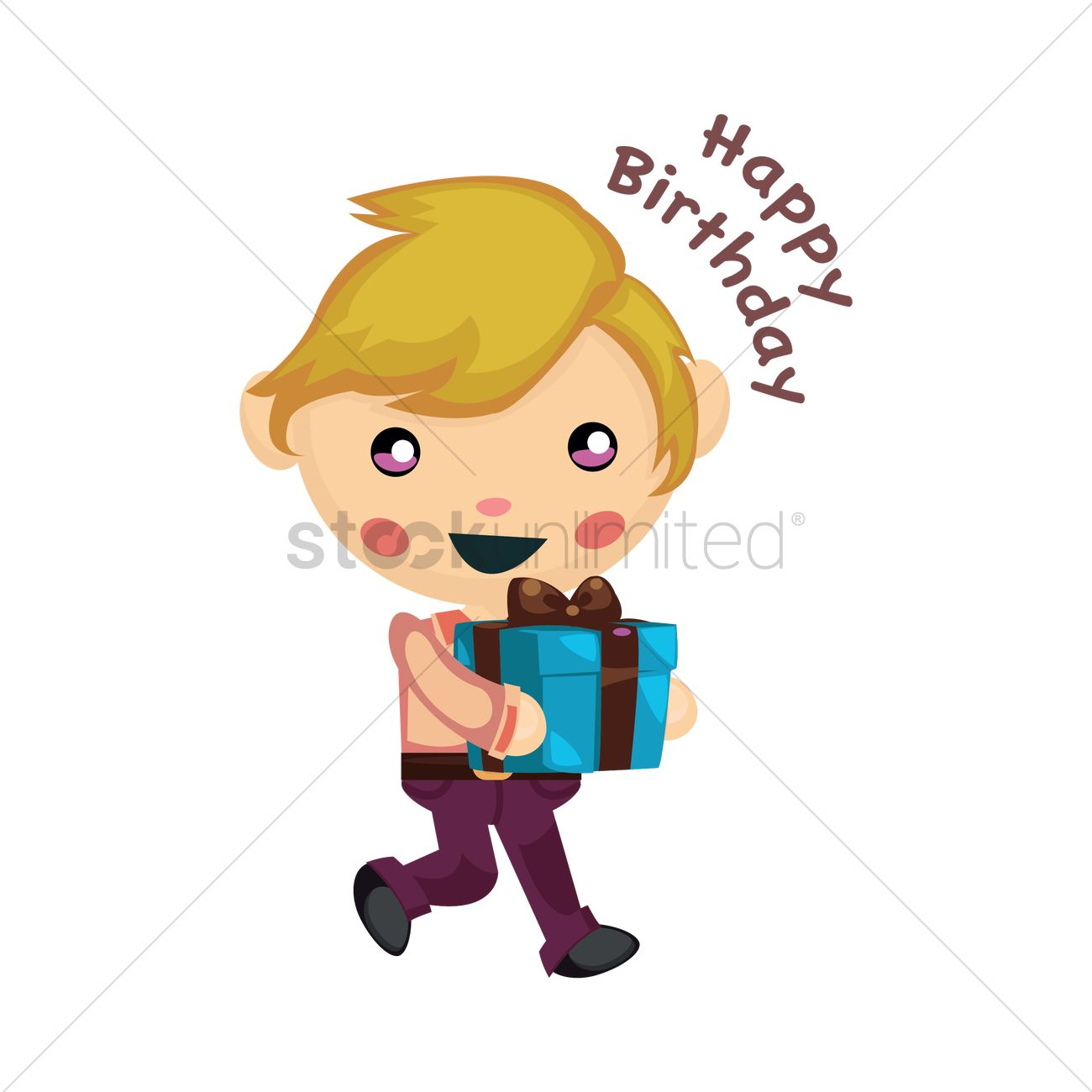 Little Boy With Birthday Gift Vector Graphic