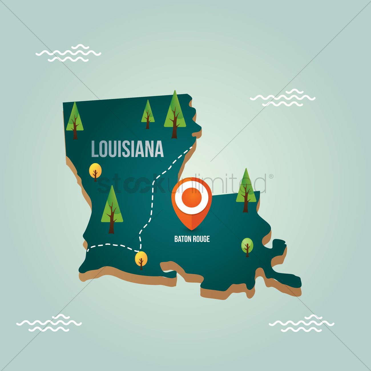 Map Stockunlimited - With Vector Capital Louisiana 1536742 City Image