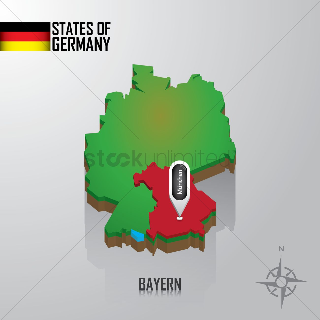 Map Of Bayern Germany Vector Image 1976762 Stockunlimited