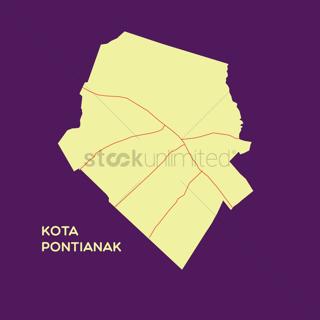 Map Of Kota Pontianak Vector Image 1480214 Stockunlimited