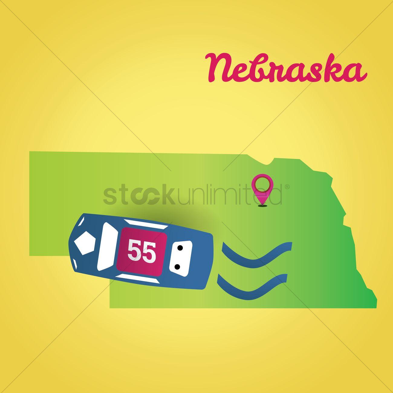 Map of nebraska state Vector Image - 1535618 | StockUnlimited