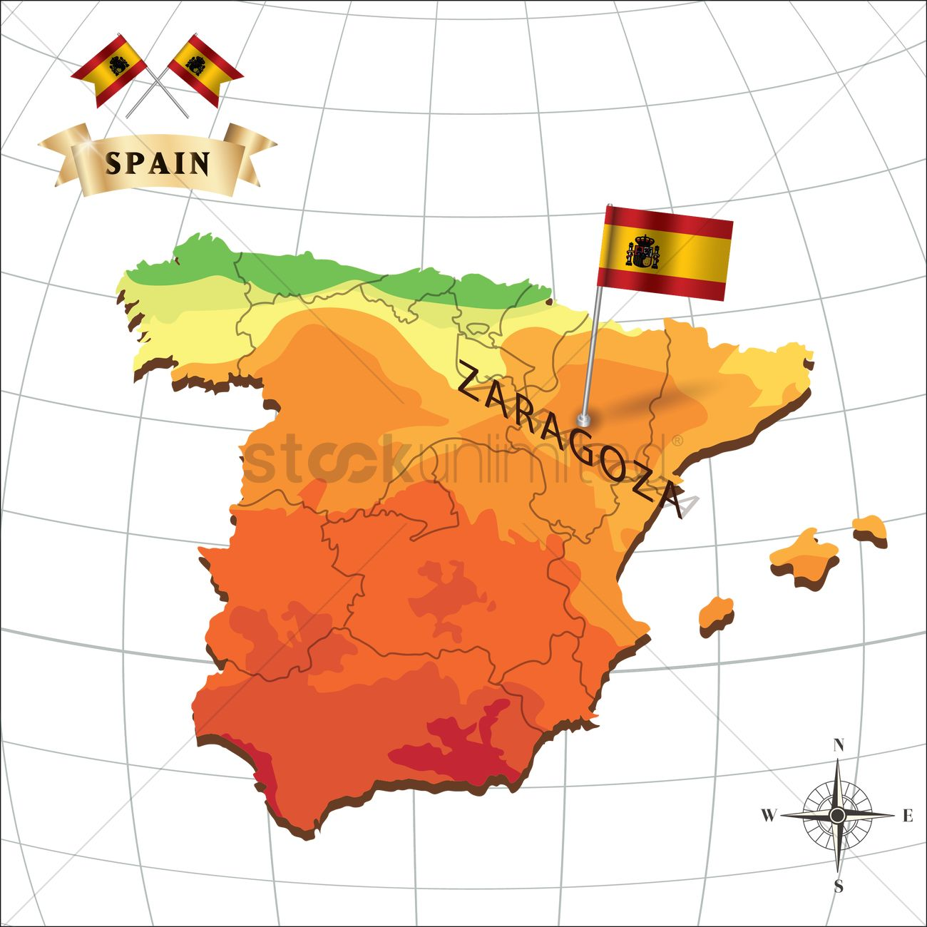 Map of spain with zaragoza Vector Image 1597922 StockUnlimited
