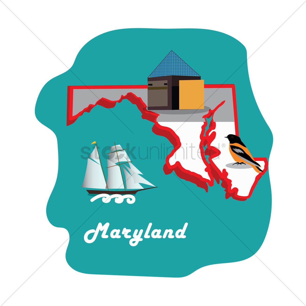 Maryland state map with national aquarium baltimore Vector Image
