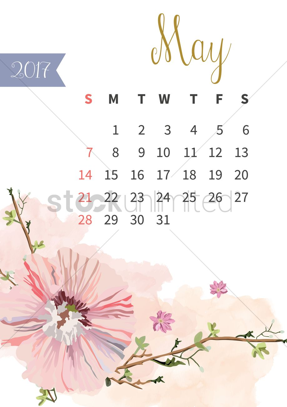 Brilliant May 2017 Floral Calendar Vector Image 1940314 Stockunlimited Download Free Architecture Designs Scobabritishbridgeorg