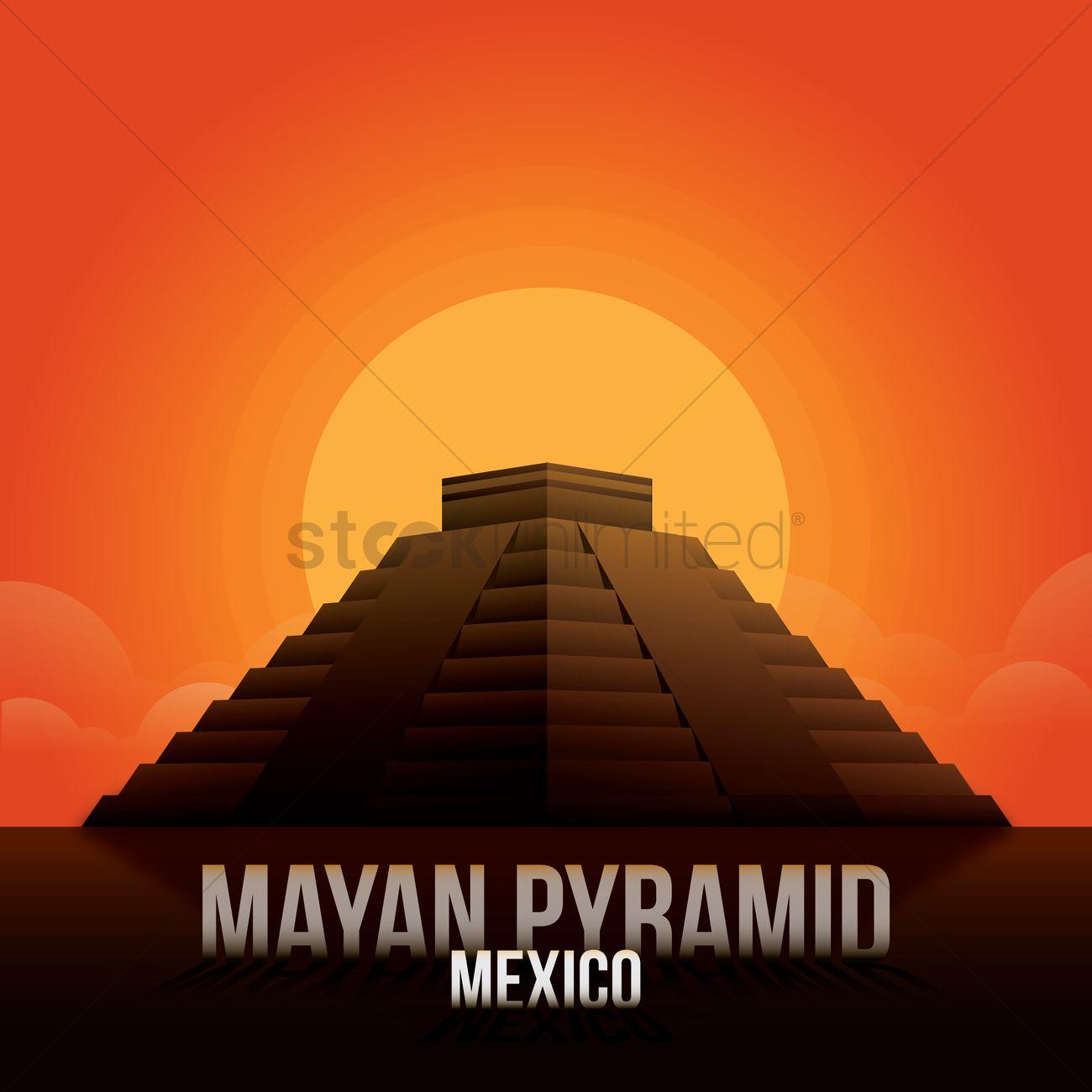 Mayan Pyramid Wallpaper Vector Graphic