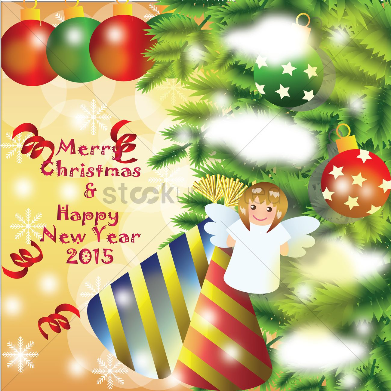 Merry Christmas And Happy New Year Card Vector Image 1483918