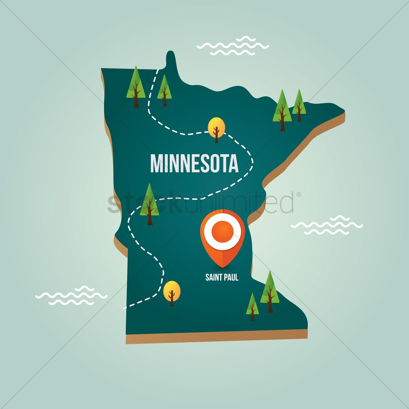 minnesota map with capital city vector image 1536678 stockunlimited