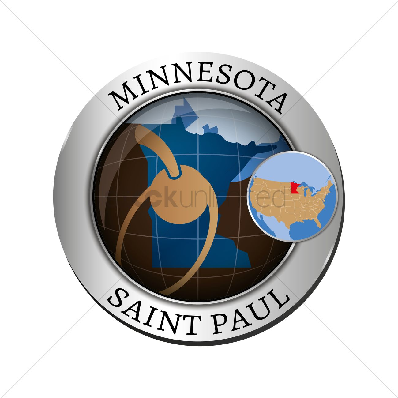 Minnesota State With Spoon Bridge And Cherry Badge Vector Image