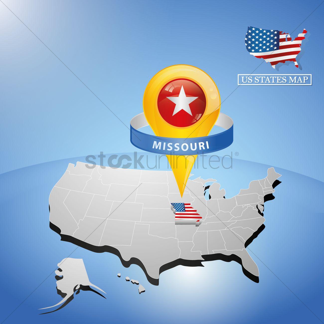 Missouri State On Map Of Usa Vector Image StockUnlimited - Missouri usa map