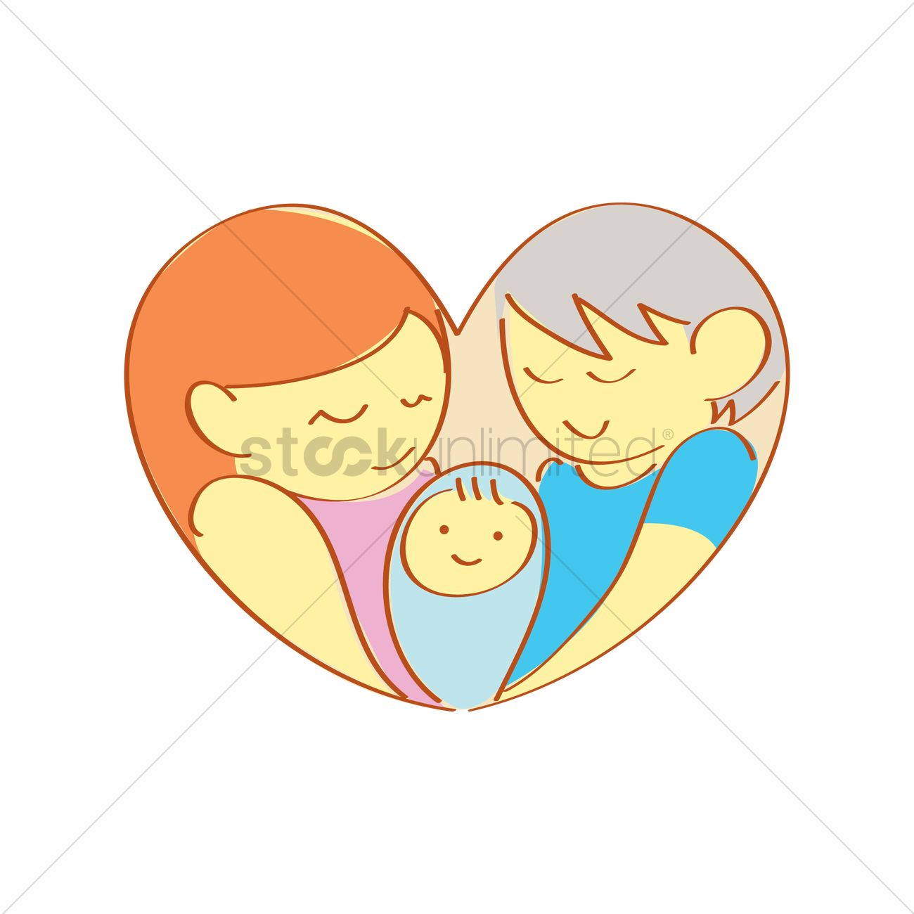 Mom And Grandmother Holding A Baby Vector Image 1316630 Stockunlimited