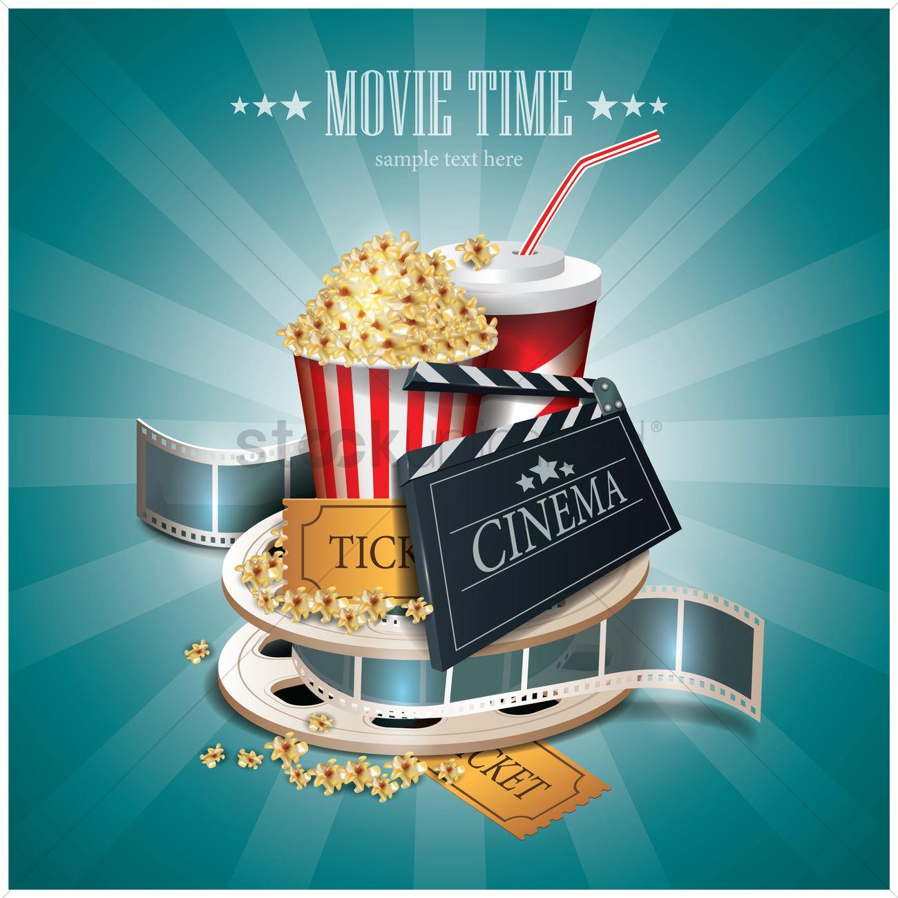Popcorn Wallpaper: Movie Time Wallpaper Vector Image - 1804982