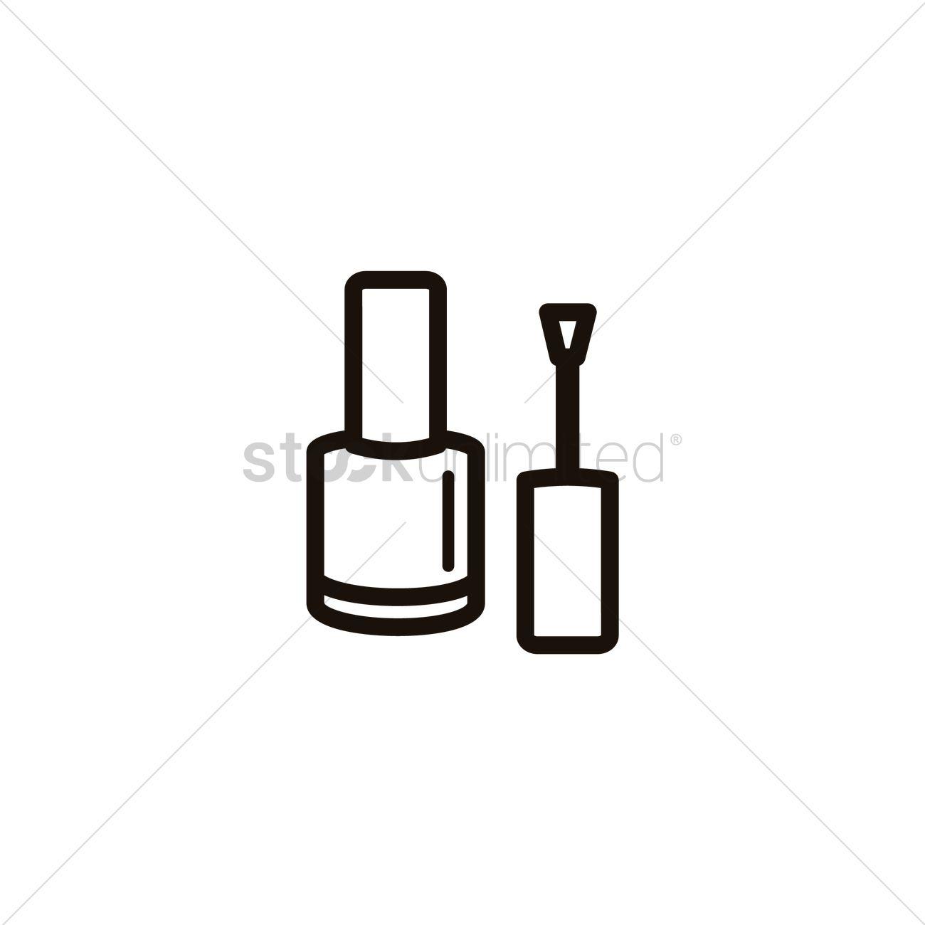nail polish clipart black and white