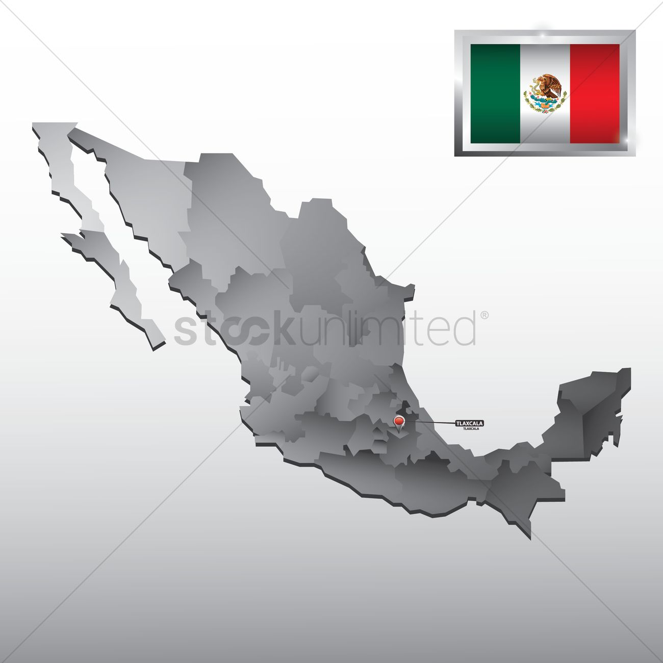 Navigation Pointer Indicating Tlaxcala On Mexico Map Vector Image