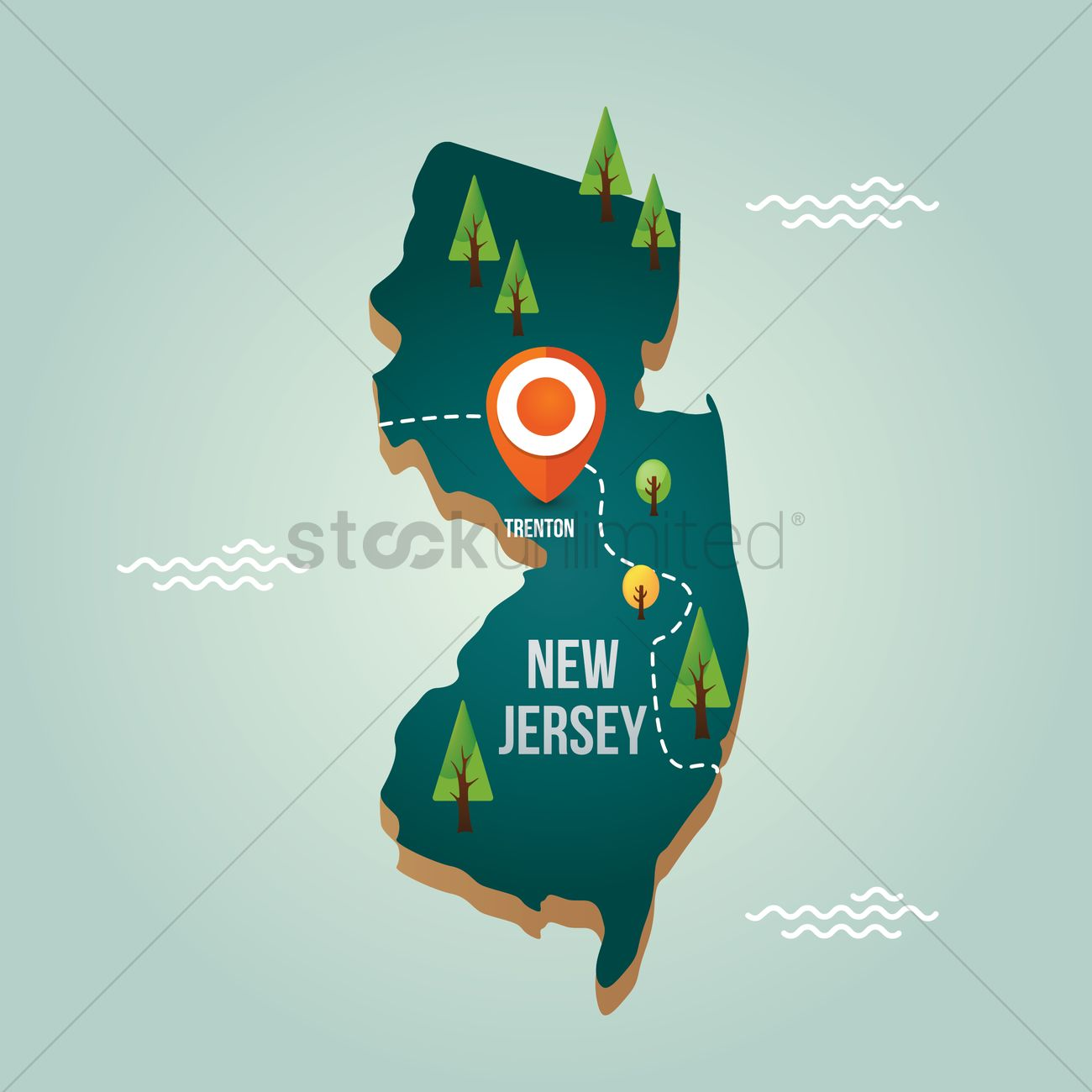 New Jersey Map With Capital City Vector Image - New jersey city map