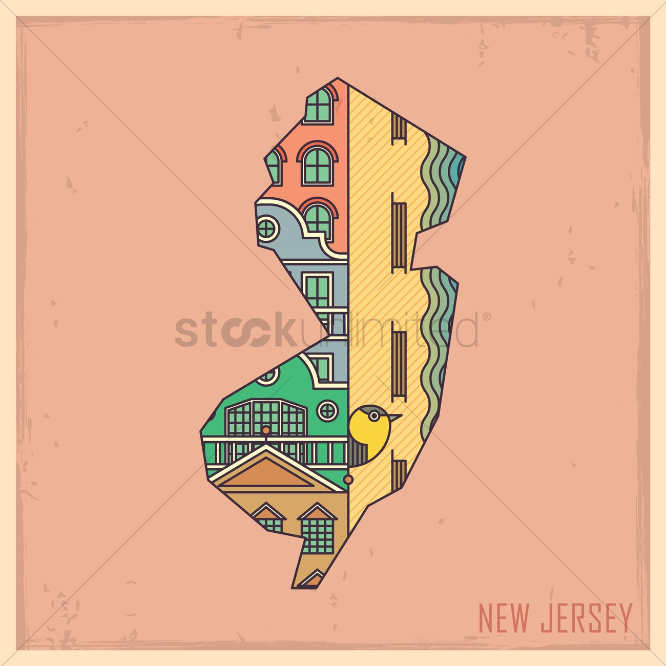 New jersey state map Vector Image - 1563478 | StockUnlimited