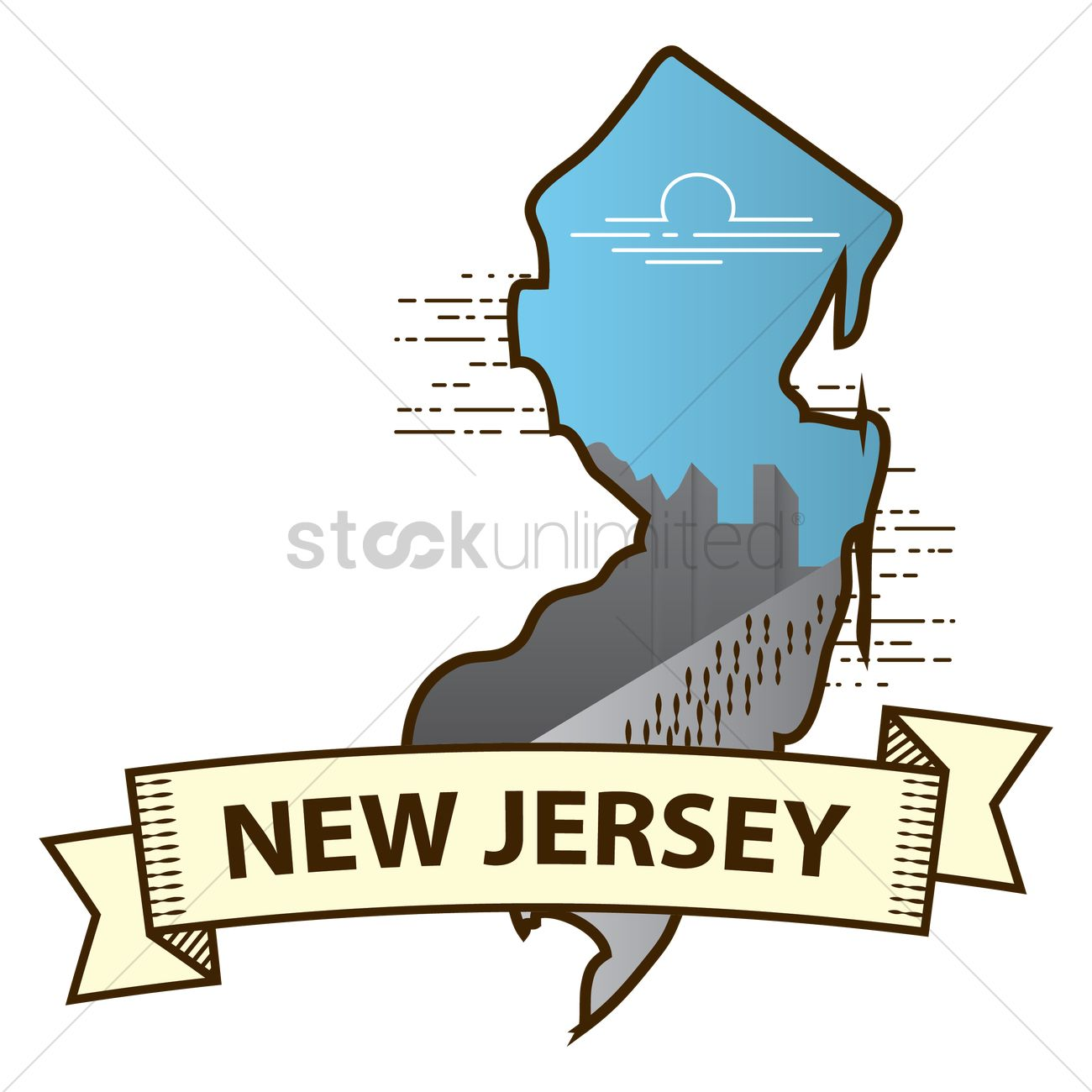 New jersey state map Vector Image - 1564474 | StockUnlimited