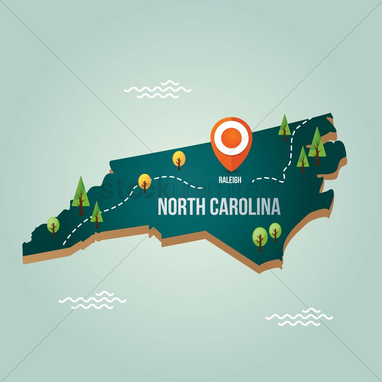 North Carolina Map With Capital City Vector Image - North carolina map of cities