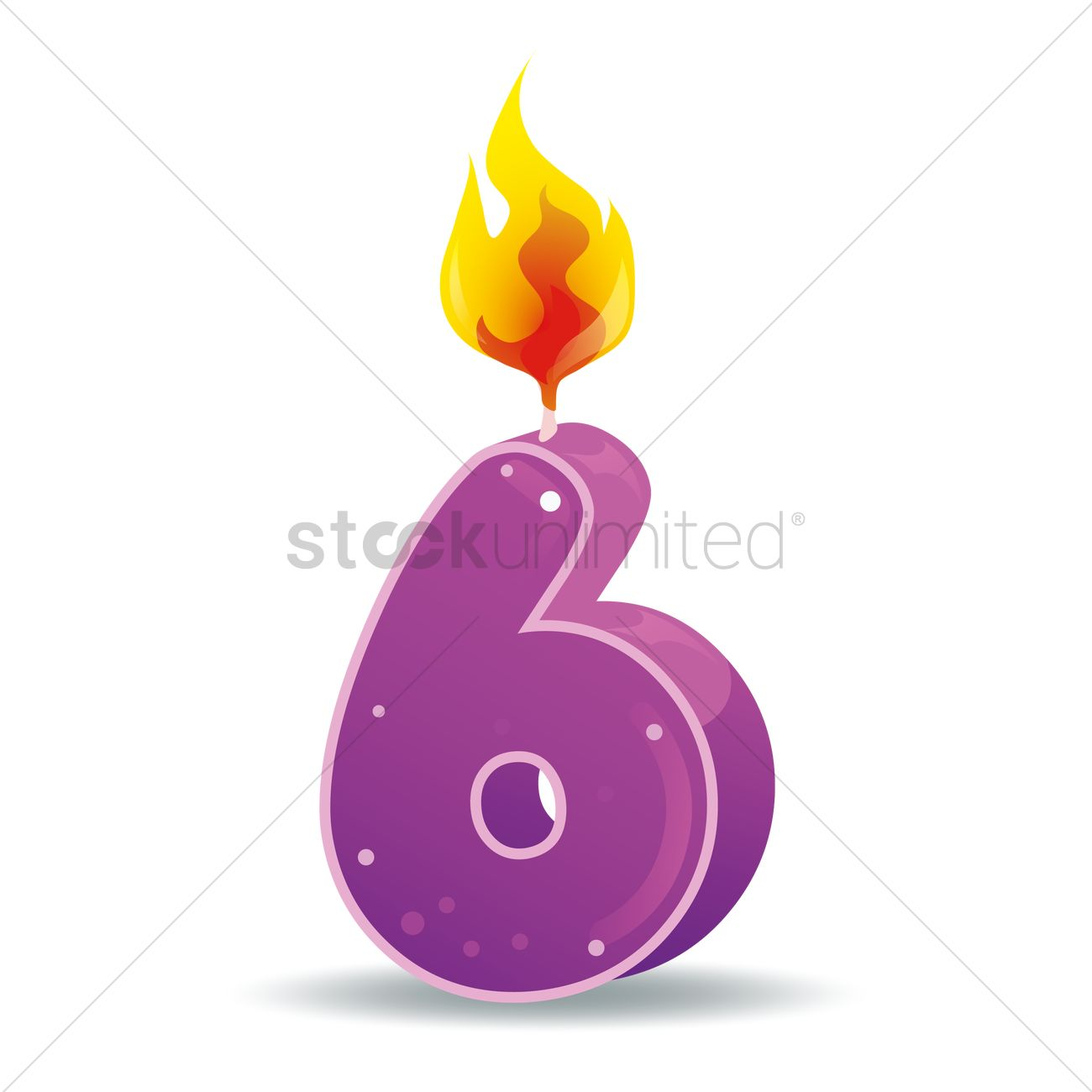 free number 6 candle vector graphic