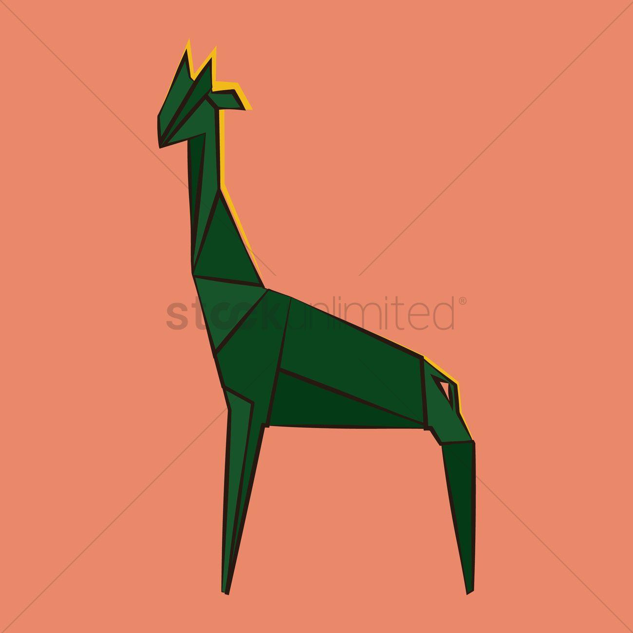 Origami Giraffe Vector Graphic