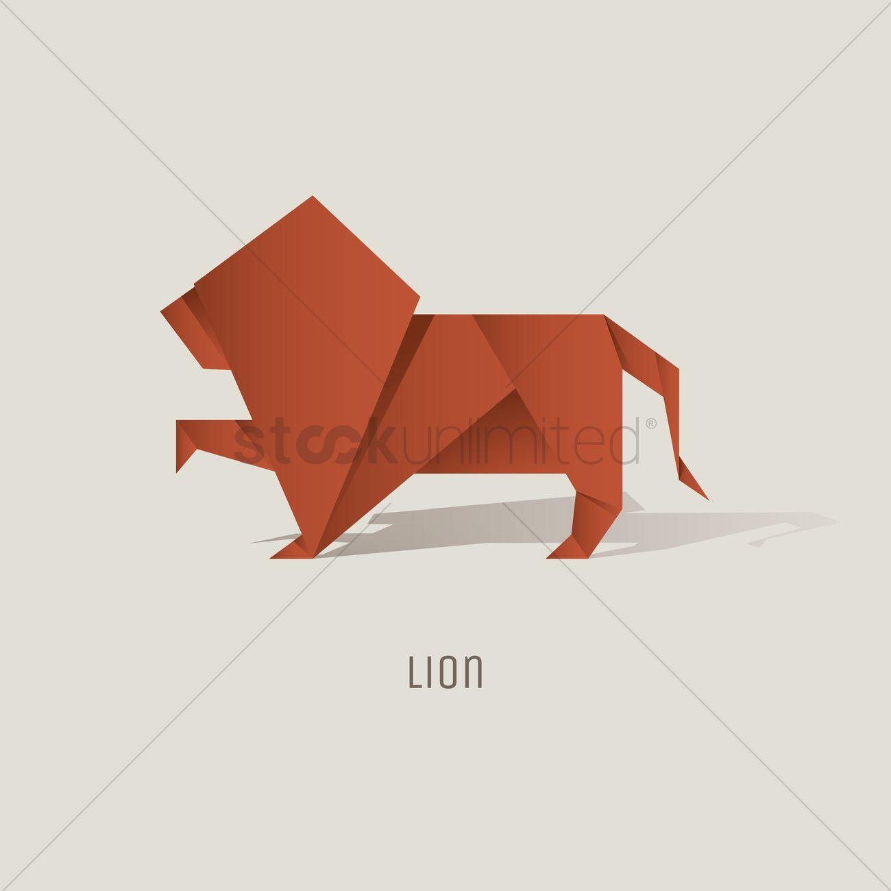 Origami Lion Vector Graphic