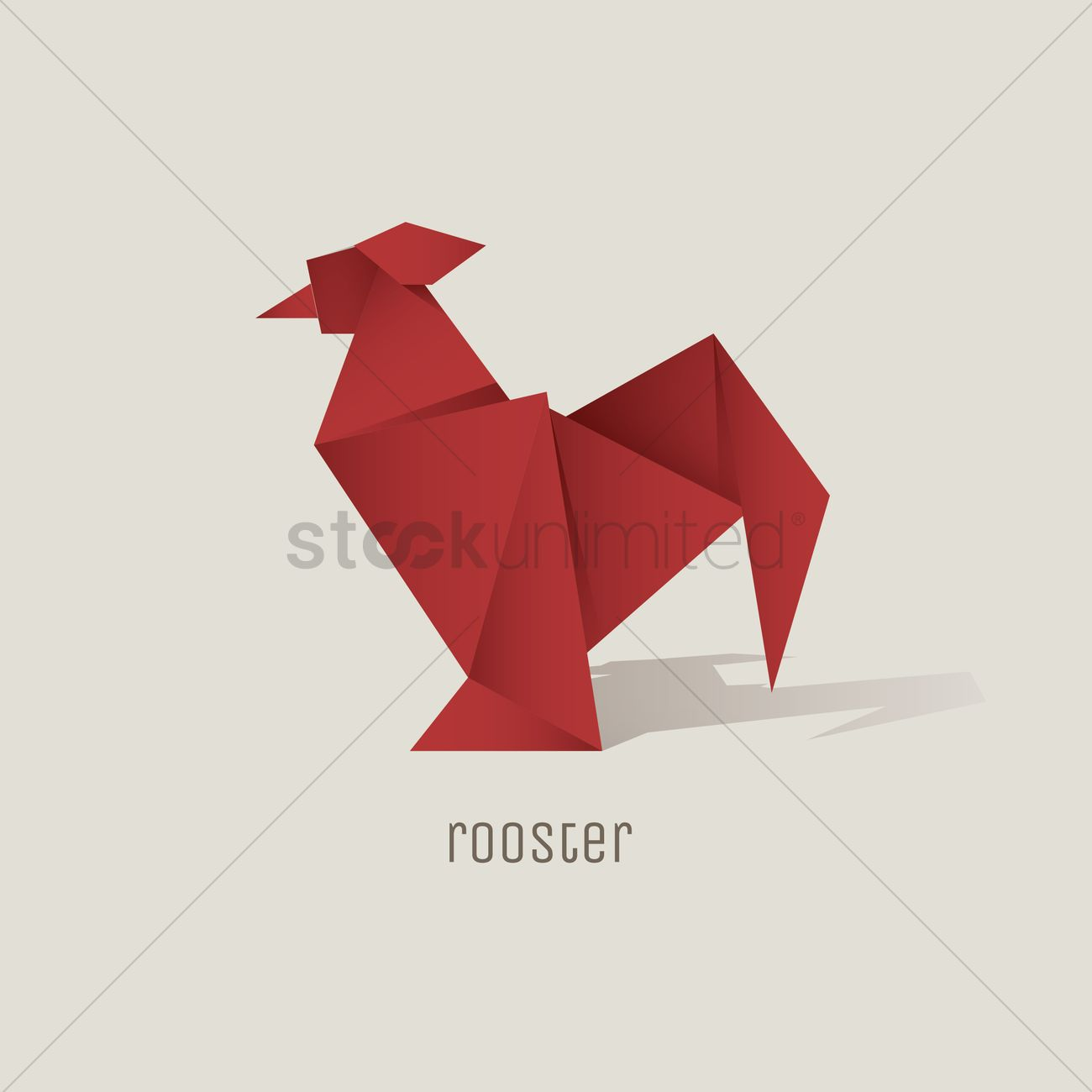 Beautiful Origami Rooster Vector Graphic With Lama