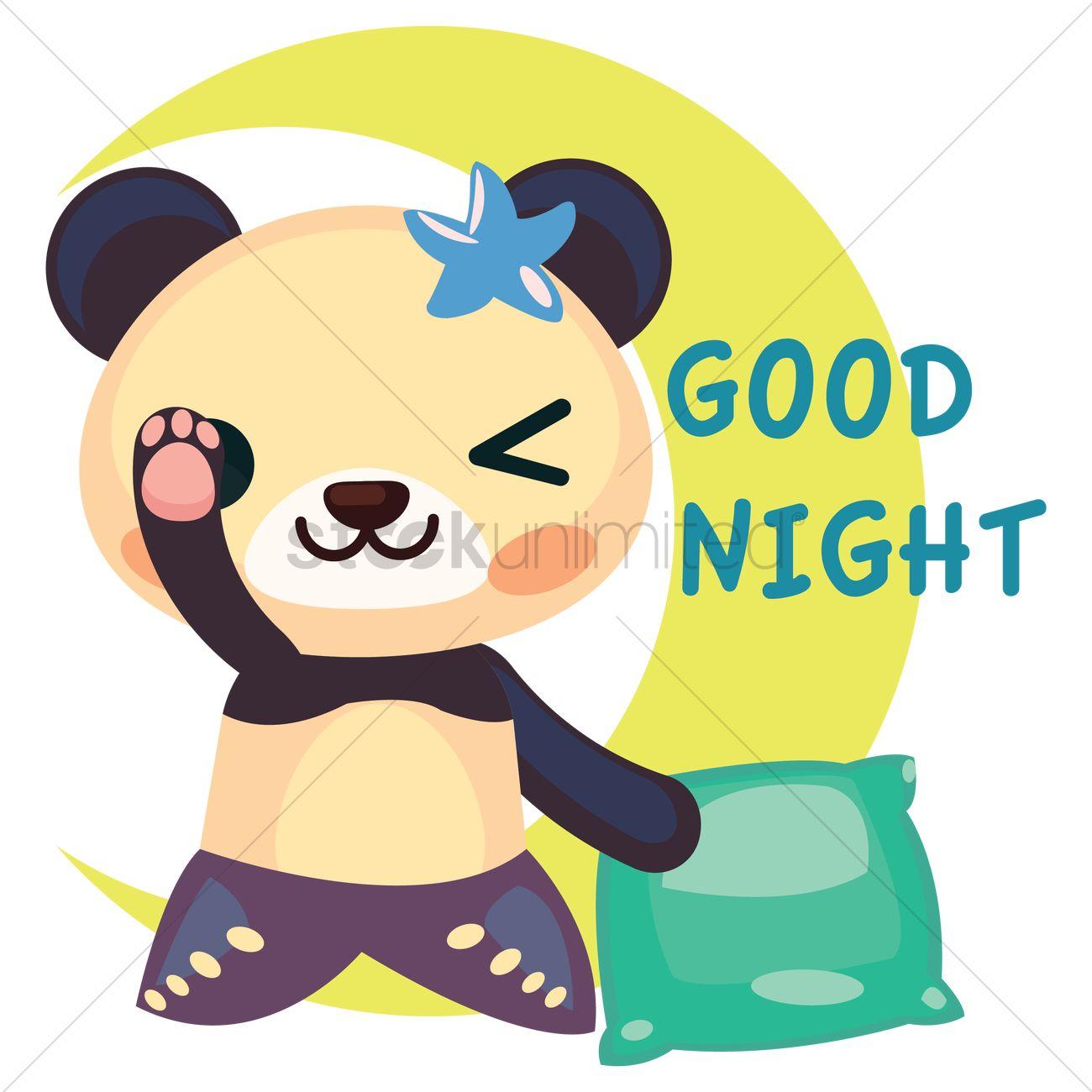 free panda in mermaid costume saying goodnight vector image rh stockunlimited com goodnight moon clipart good night love clip art
