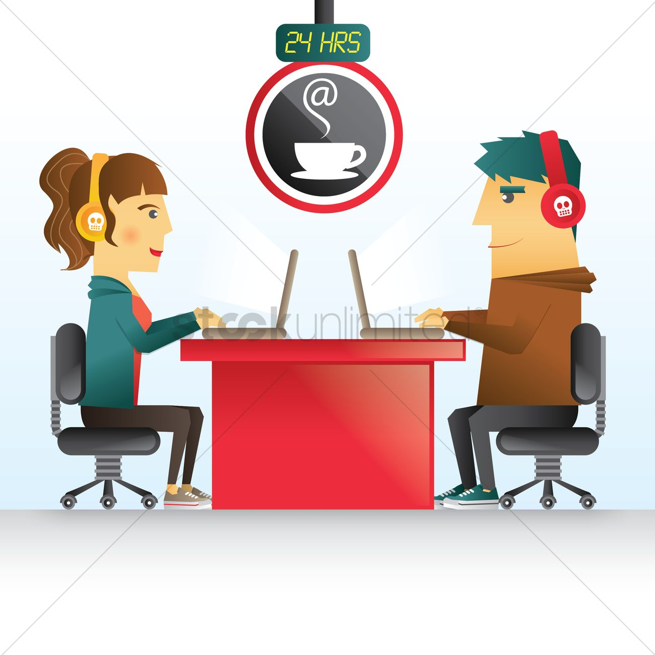 People Surfing Internet In Cyber Cafe Vector Image 1410470