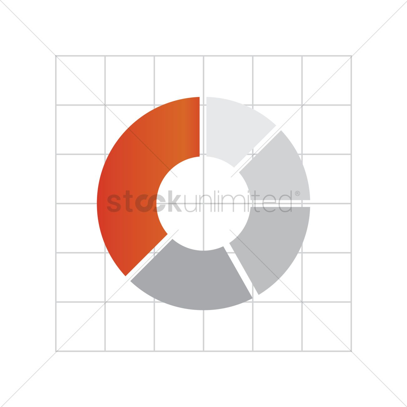 free pie chart on graph paper vector image 1621662 stockunlimited