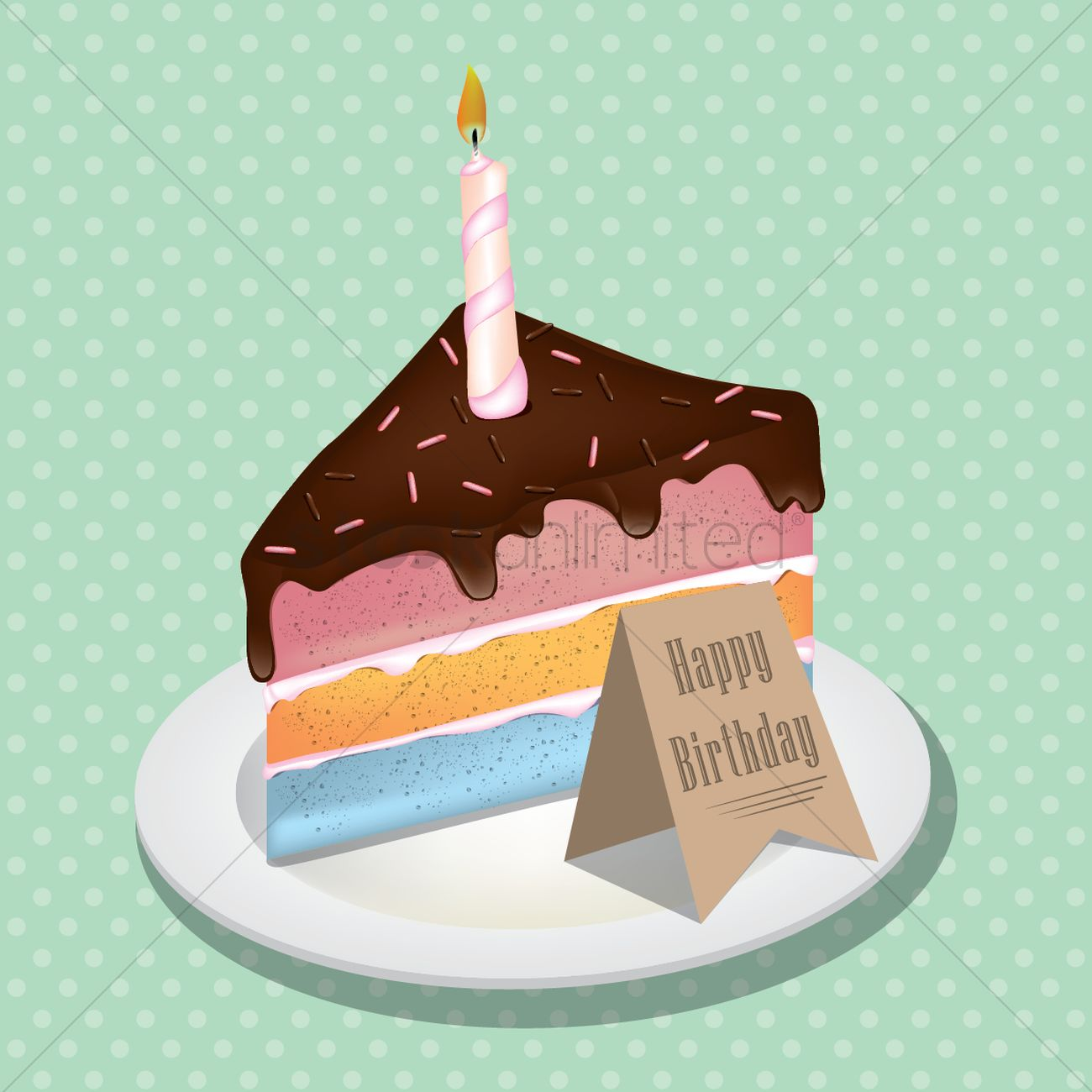 Terrific Piece Of Birthday Cake With Candle Vector Image 1530030 Personalised Birthday Cards Petedlily Jamesorg
