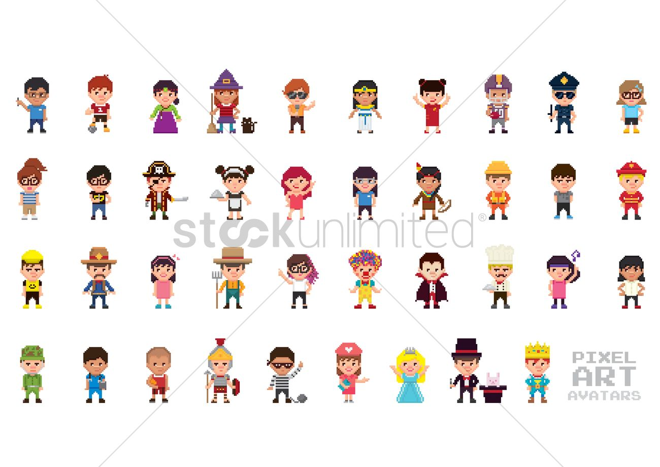 Pixel Art Avatar Collection Vector Image 1958414