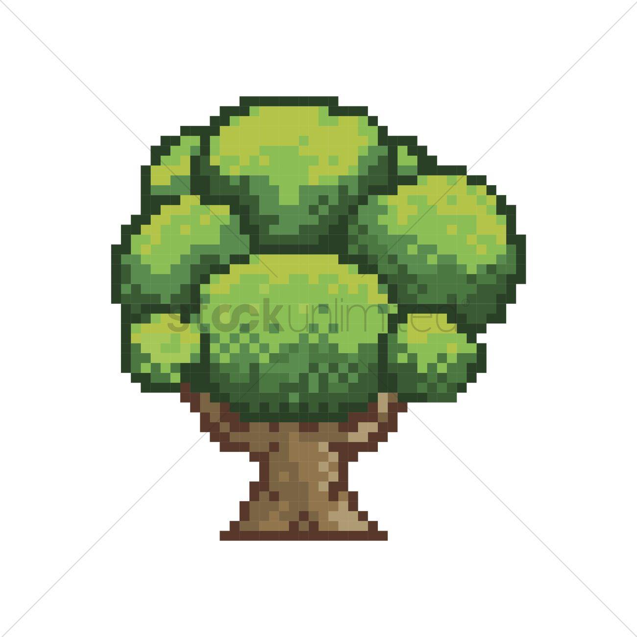 Pixelated Green Tree Vector Image - 2008666