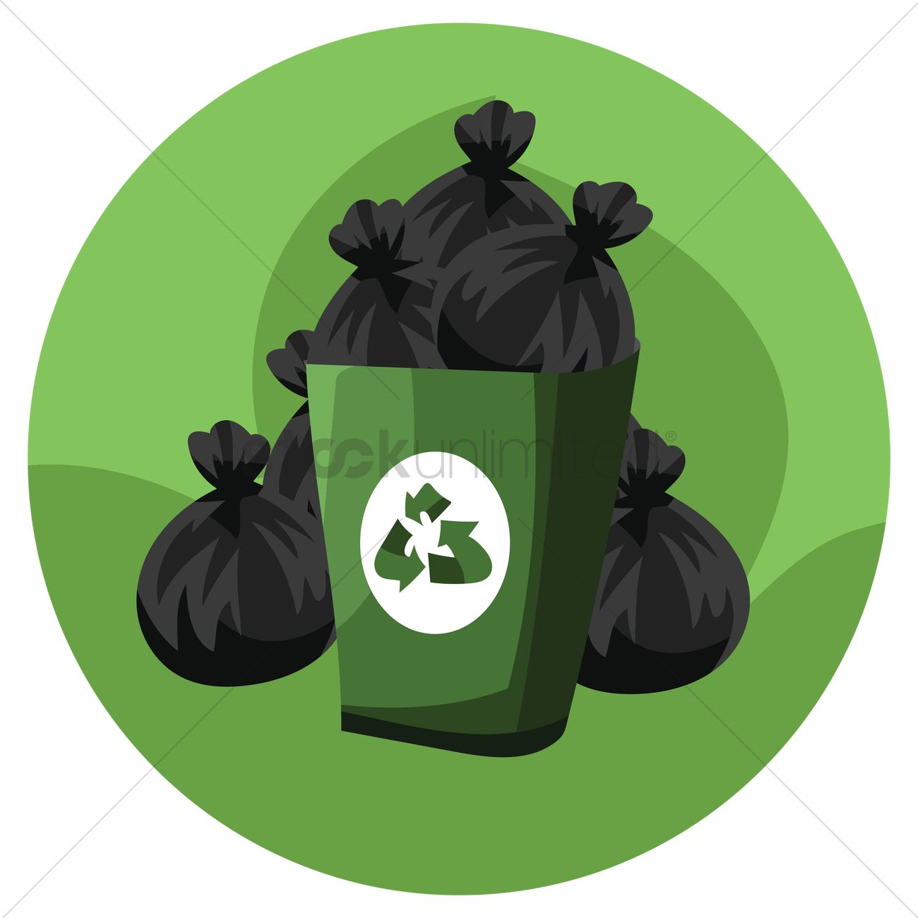 Recycle Bin With Garbage Bags Vector Graphic