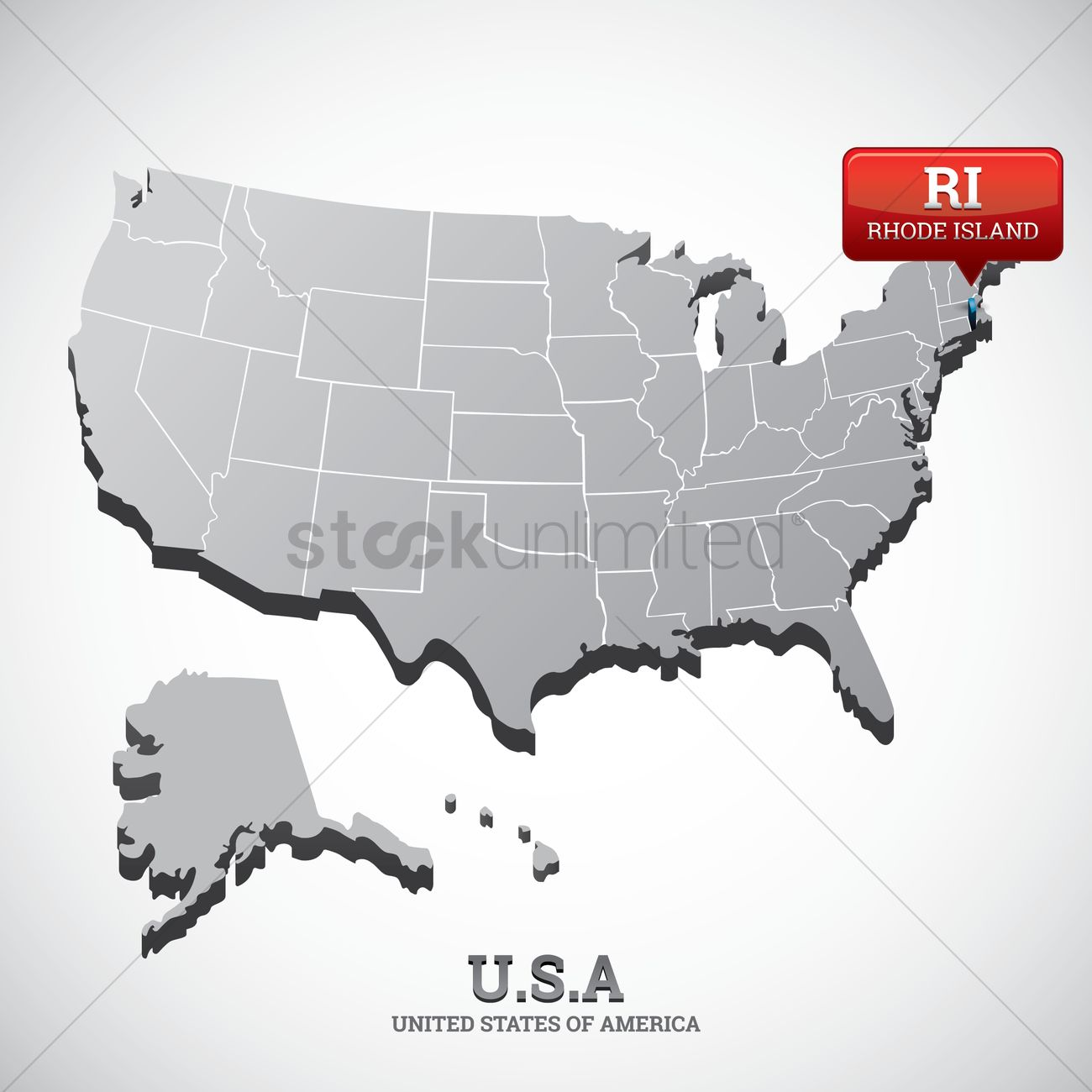 Rhode island state on the map of usa Vector Image - 1532682 ...