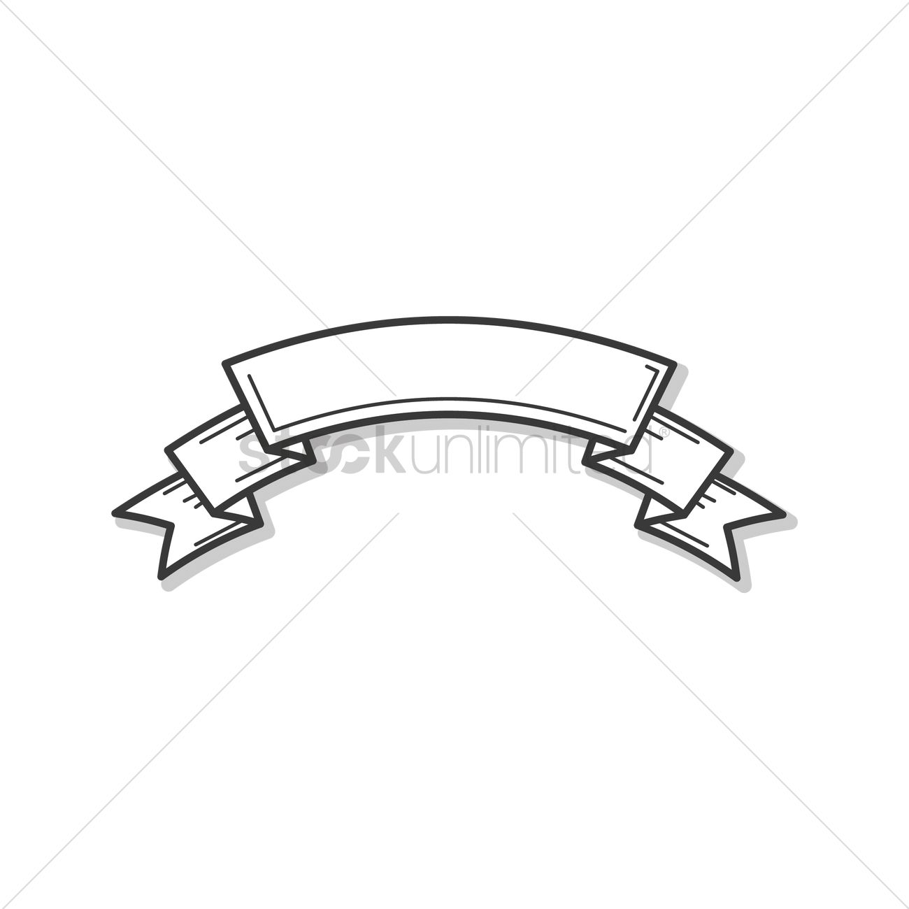 Blank Ribbon Banner Outline