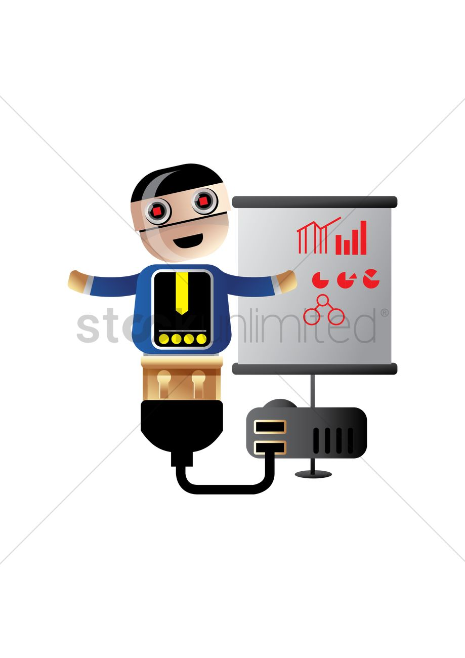 Free robot explaining the business graphs and pie charts vector free robot explaining the business graphs and pie charts vector graphic nvjuhfo Image collections