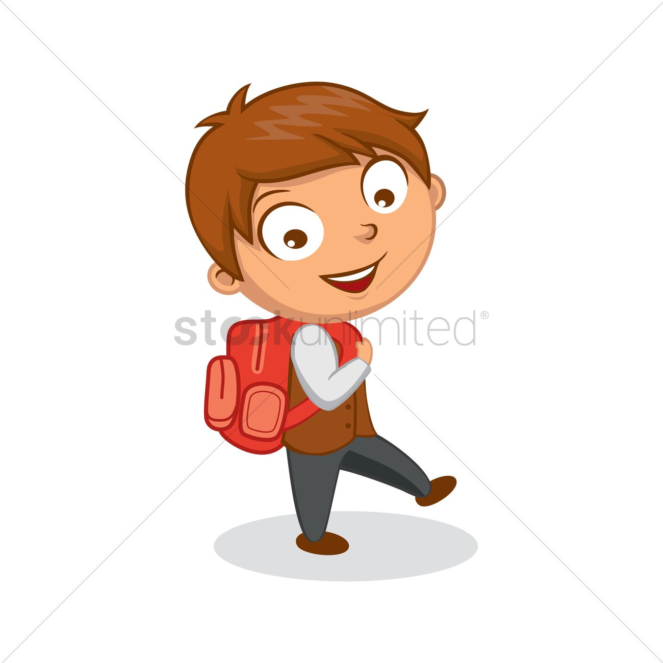 free school boy walking to school vector graphic - Cartoon Boy Images Free