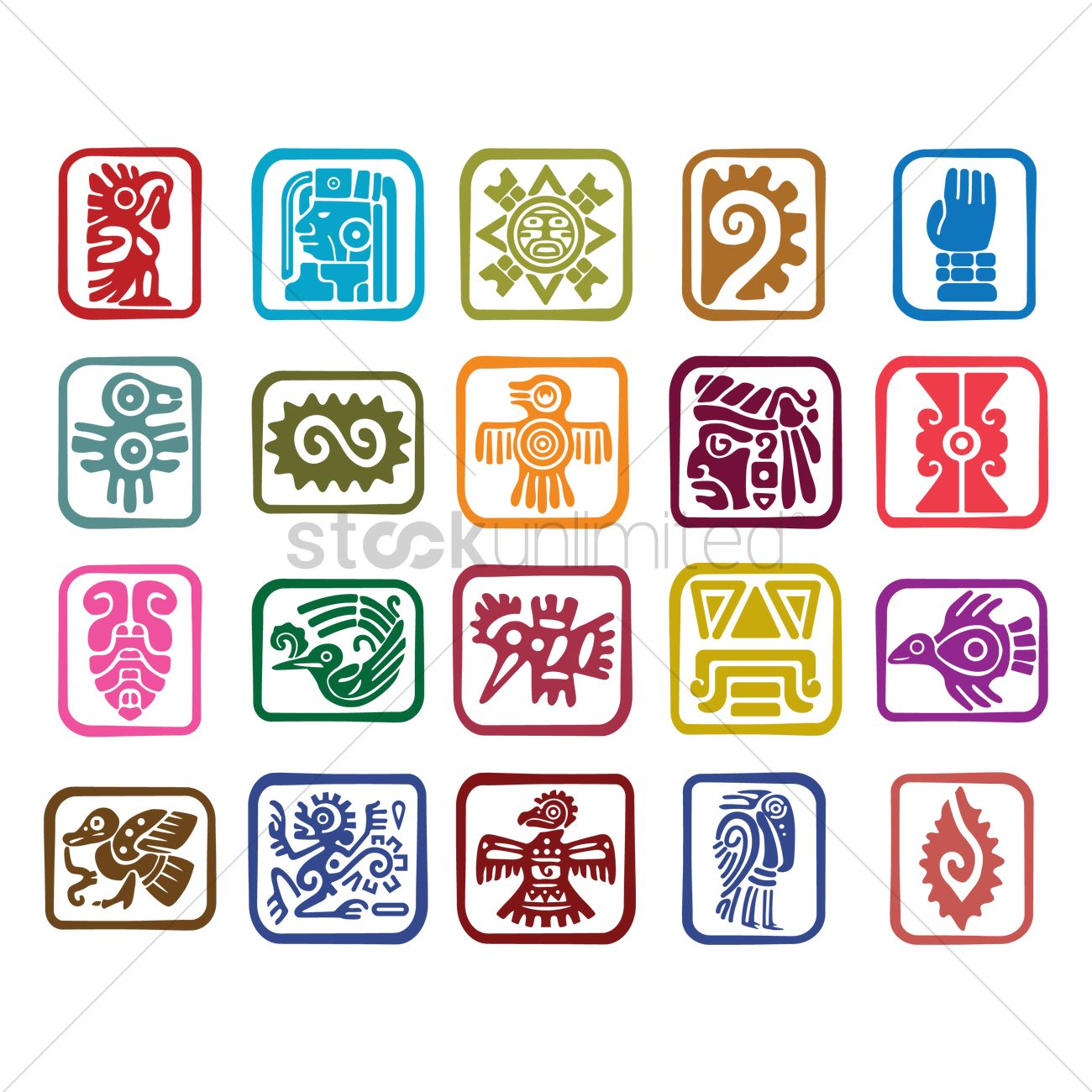 Set Of Aztec Symbol Icons Vector Image 2014278 Stockunlimited
