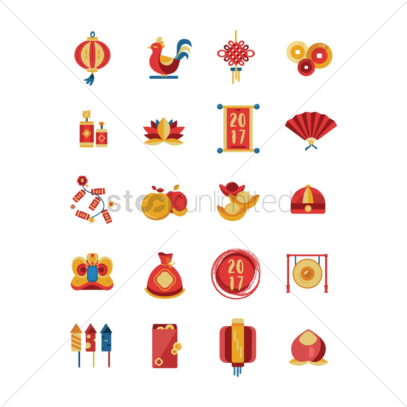 set of chinese new year icons vector graphic - Chinese New Year 1966