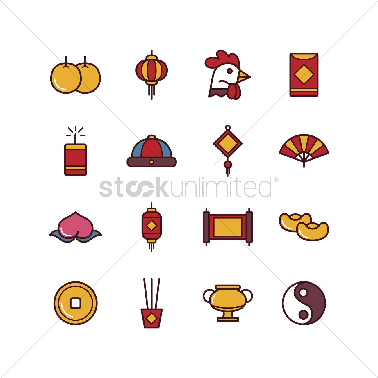 Set Of Chinese New Year Icons Vector Image 1970458 Stockunlimited