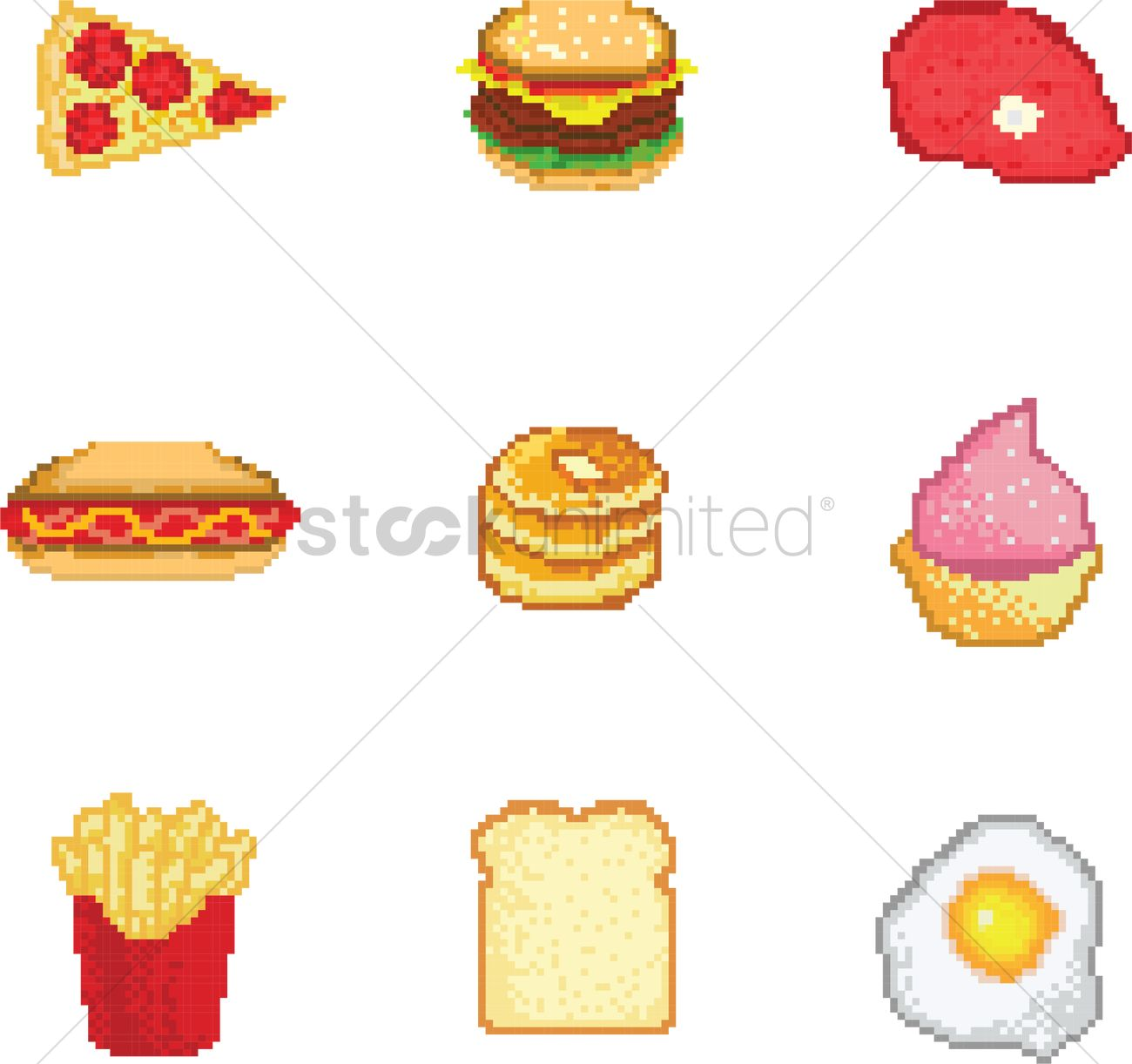 Set Of Food Pixel Art Vector Image 2021150 Stockunlimited