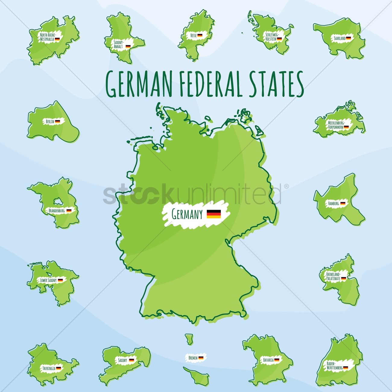 set of german federal states icons vector graphic