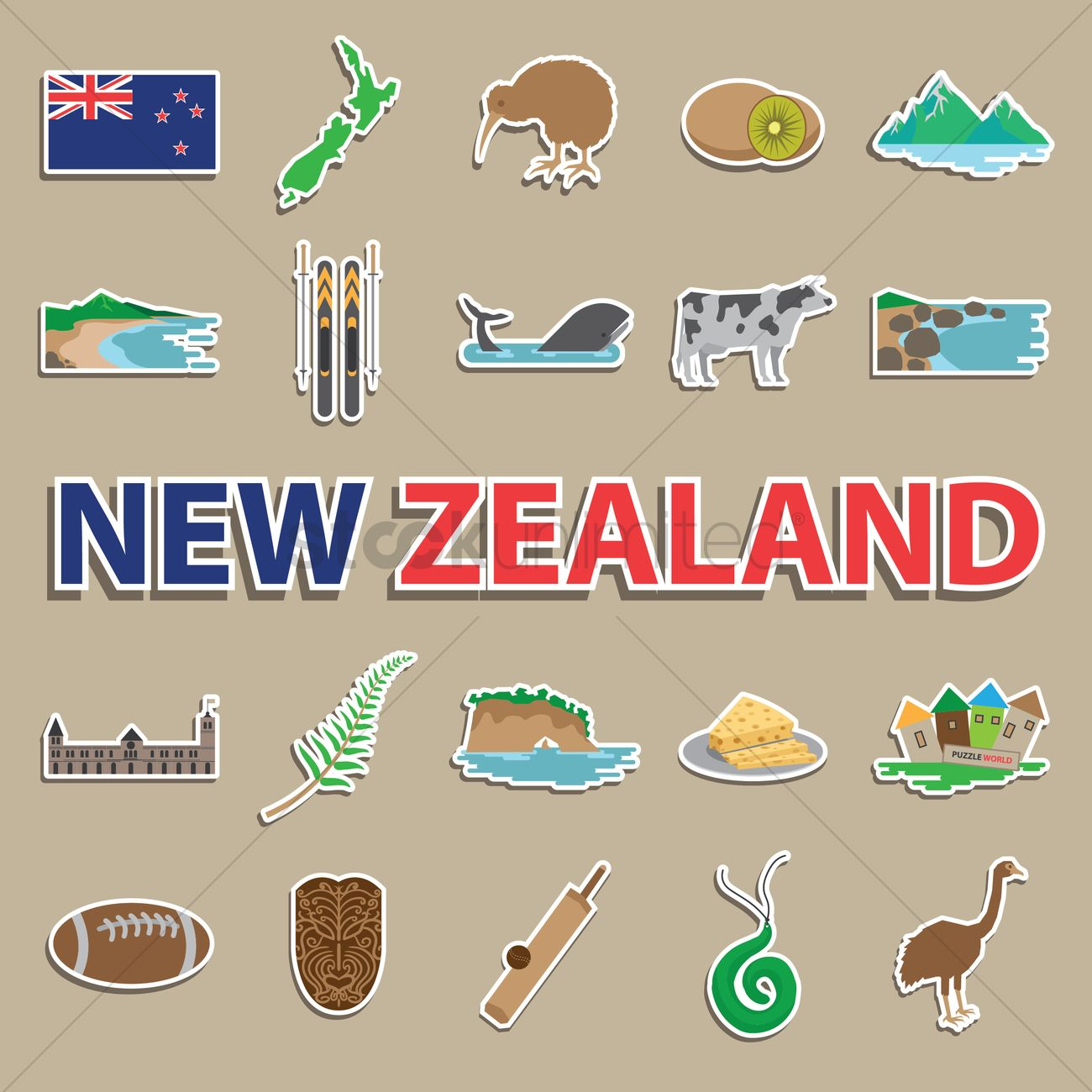 Set Of New Zealand Icons Vector Image 2016558 Stockunlimited